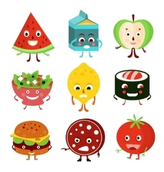 Funny Cartoon Food and Fruit vector image