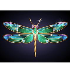 golden dragonfly vector image