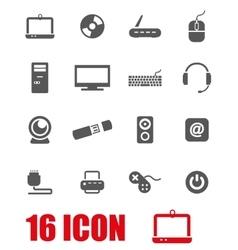 grey computer icon set vector image