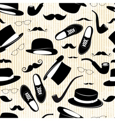 Hipster seamless background with elements vector image vector image