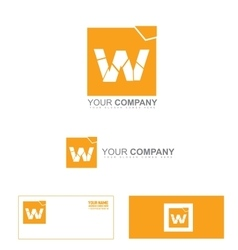 Letter w logo icon broken pieces vector