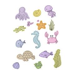 marine set little cute cartoon vector image vector image