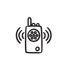Radio set sketch icon vector