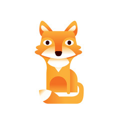 Red fox stylized geometric animal low poly design vector