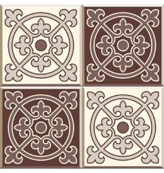 Retro floor tiles patern set of four patterns vector