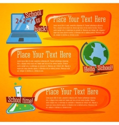 Set of cute back to school banners with computer vector