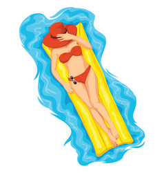 Woman sunbathing on pool raft vector