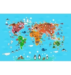 World map with animals in vector image vector image