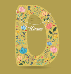 Yellow letter d with floral decor and necklace vector