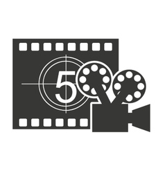 Tape record counter with cinema icon vector