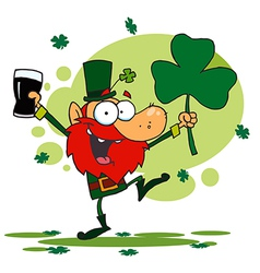 Dancing leprechaun holding a shamrock and beer vector