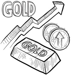 doodle currency gold increase vector image