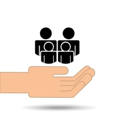 Hand holding family person group design vector
