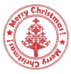 Merry christmas red tree stamp vector