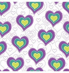 seamless background with color hearts vector image