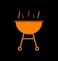 Barbecue simple sign orange icon on black vector