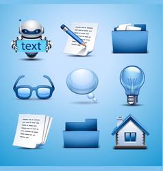 web icon-blue set vector image