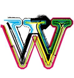 Grunge colorful font Letter w vector image