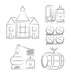 Whiskey thin line icons - outline whisky process vector