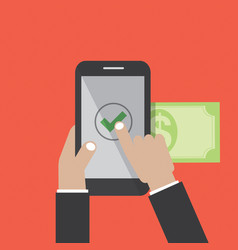 Hands using internet banking on smart phone vector