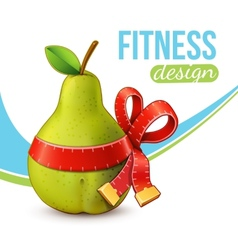 Fitness background with pear vector image