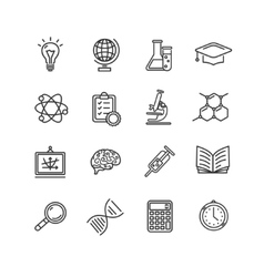 Science outline black icons set vector