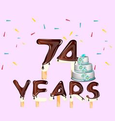 74 years happy birthday card vector image vector image