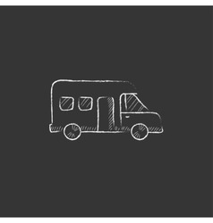 Motorhome drawn in chalk icon vector