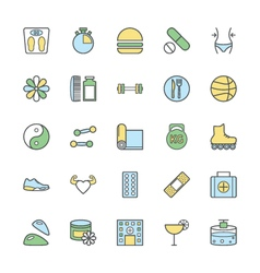Fitness Bold icons 2 vector image