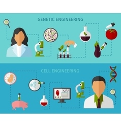 Biotechnology colored banners set vector