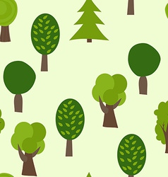 Cartoon Tree Seamless Pattern Summer Background vector image vector image