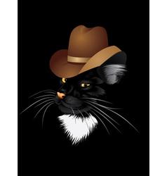 Cat cowboy vector image vector image