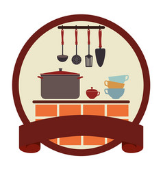 Circular emblem with ribbon and kitchen set vector