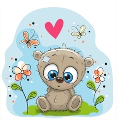 Cute teddy bear with flowers vector