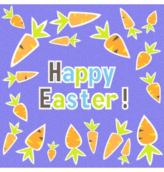 Easter carrots card on a purple vector