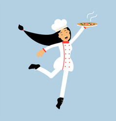 Female chef cook character in uniform jumping with vector