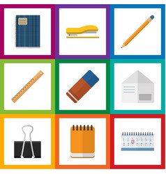 Flat icon stationery set of rubber paper clip vector
