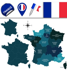France map with named divisions vector