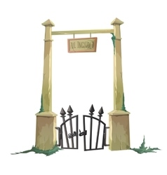 Gate to the old cemetery hacked vector