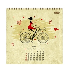 Girls retro calendar 2014 for your design may vector image