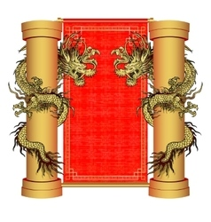 Gold dragon on a pole on the background of vector