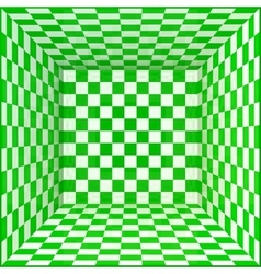 Green and white chessboard walls room background vector