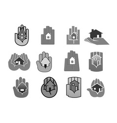 House insurance or security hand icons set vector