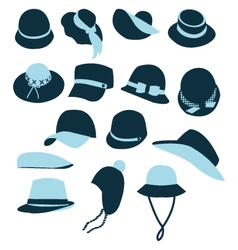Icon Set of Hats Black Silhouette vector image vector image