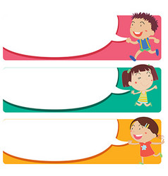 Label design with kids and speech bubbles vector