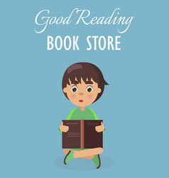 little boy in good reading book store on blue vector image