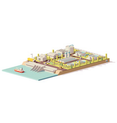 low poly water treatment plant vector image