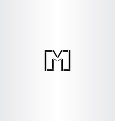m letter icon black symbol logotype vector image vector image