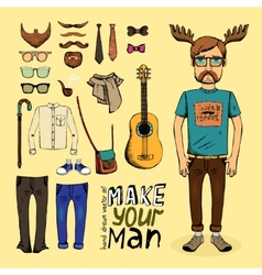 make hipster set vector image vector image