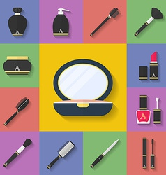 Makeup cosmetic icon set Flat style vector image
